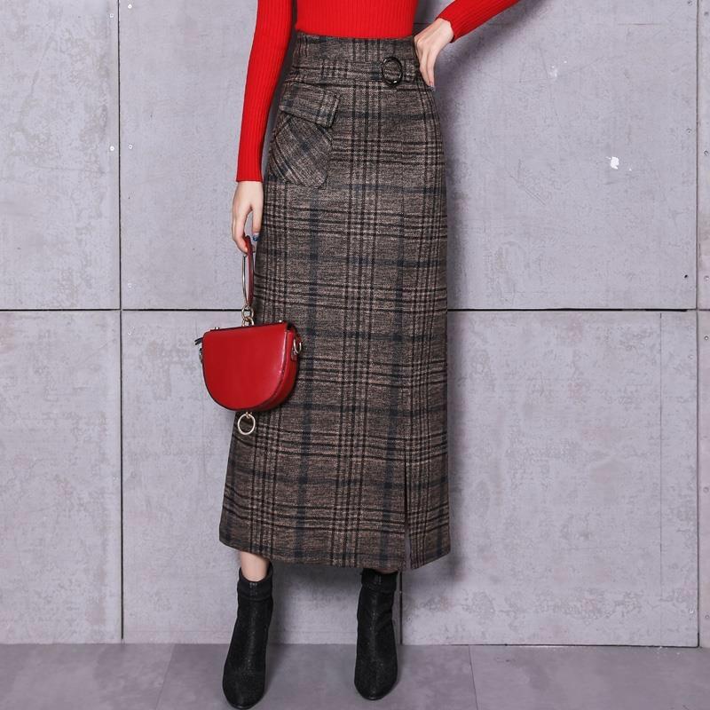 Elegant Retro Female Hight Waist Woolen Long Plaid Skirt Women Casual Straight Vintage Fashion Maxi Skirt Jupe Longue Femme Slim