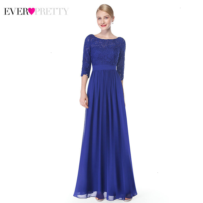 Elegant Prom Dresses Long Ever Pretty A-Line O-Neck 3/4 Sleeve Cheap Chiffon Formal Evening Party Gowns Vestidos De Gala 2019