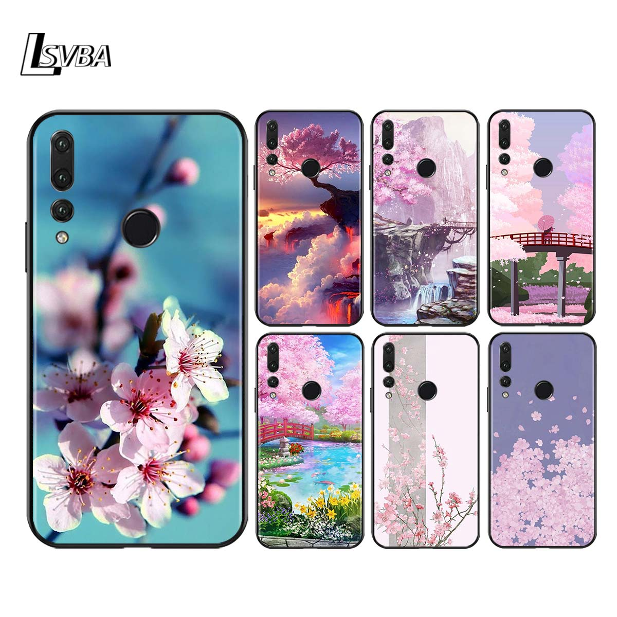 Silicone Soft Cover Cherry Blossom For Huawei Honor 30 20 Pro 10I 9A 9S 9X 8X 10 9 Lite 8 8A 7A 7C Pro Phone Case