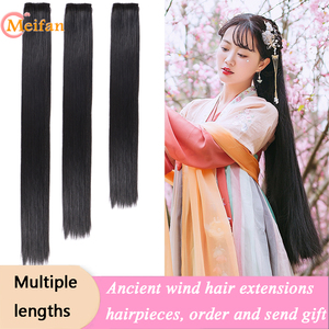 MEIFAN Hanfu Long Straight Clip in Hair Extensions Hairpiece for Women Design Stage Performance Chinese Ancient Style Hairstyle