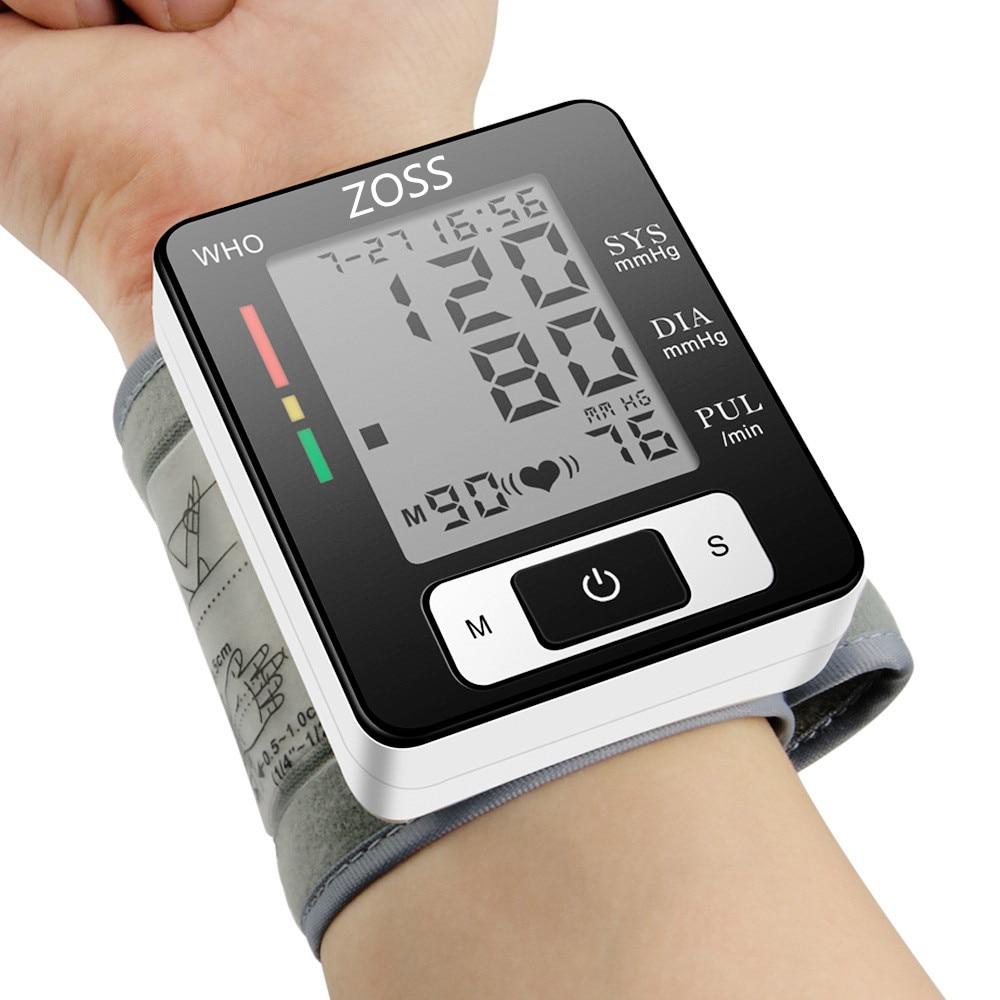 Тонометр ZOSS с речевым сопровождением, Портативный тонометр на запястье для измерения артериального давления, пульса с речевым сопровожден...