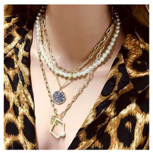 цена на TOTABC Multilayer Imitate Irregular Pearl Necklace For Women Atmospheric Metal Accessories Line Lock Chain Necklace Jewelry