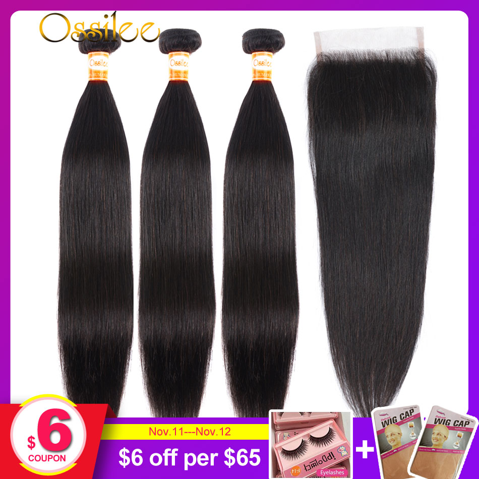Human Hair Bundles With Closure Brazilian Straight Hair Bundles With Closure Ossilee Remy 3 Bundles With Closure Middle Ratio