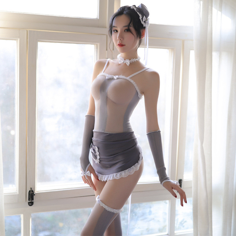 Sexy Women Temptation Maid Cosplay Hollow Out Apron Roleplay Exotic Costumes See Through Mesh Uniforms Women Maid Costume