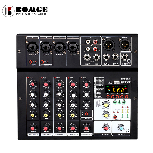 BMG-06A Sound Audio-Mixer Mixing Console 6 channel Audio Interface 16 kinds DSP Effects / 48V Phantom Power USB Bluetooth MP3