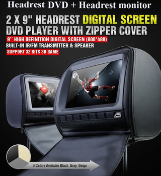 one pair 9 inch car headrest DVD player/lcd monitor,with zipper cover,USB/SD,32bit  Game,IR,FM,one DVD+one monitor 9 car headrest dvd video multimedia player monitor entertainment with usb sd game ir fm transmitter hd screen built in speaker