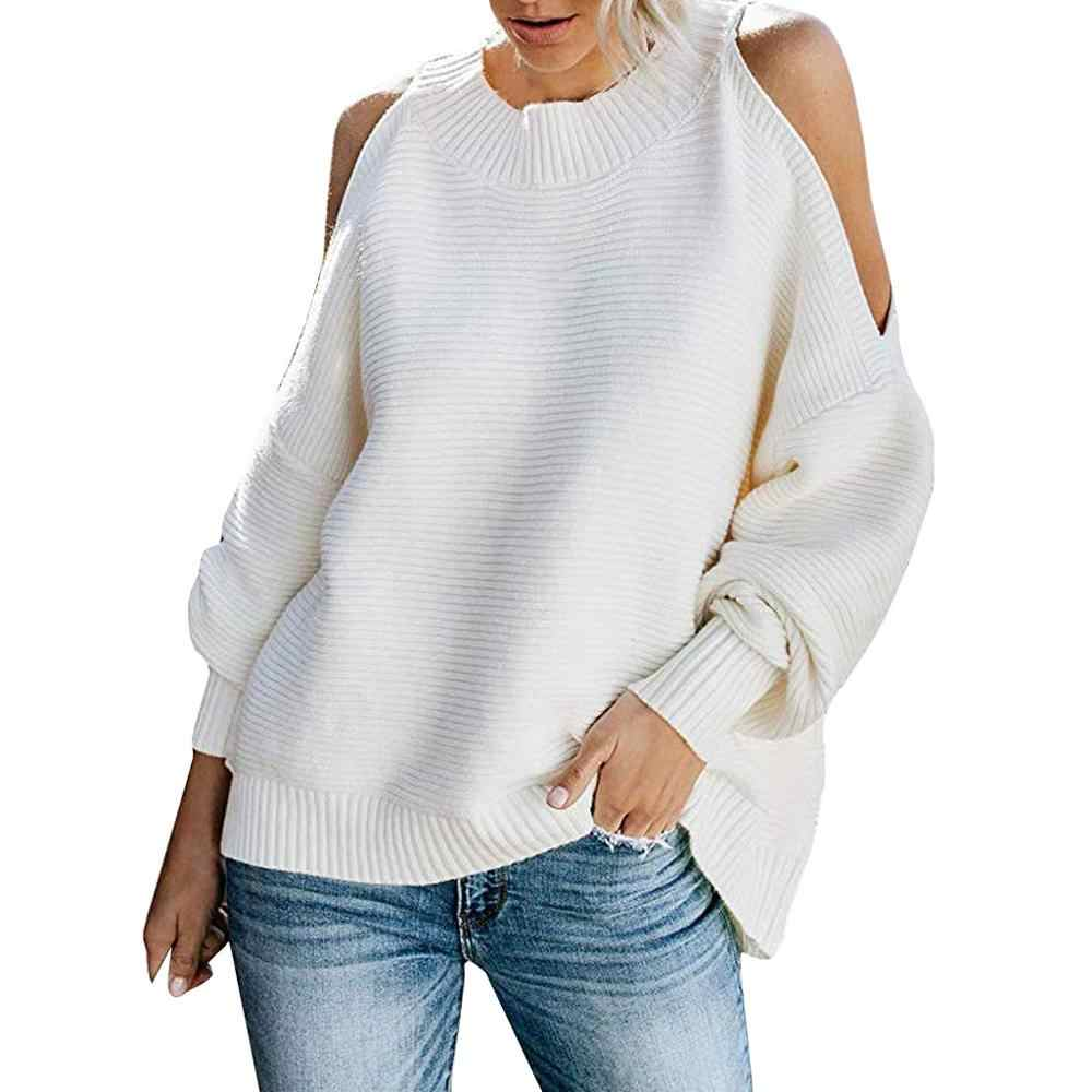 Womens Cold Shoulder Sweaters Batwing Sleeve Loose Oversized Pullover Knit Tops enteritos largos mujer elegantes off-shoulder #7