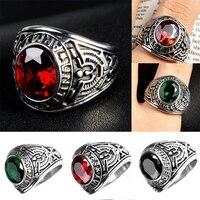 Männer Vintage Punk Ring Silber Farbe Schmuck Runde Saphiren Rot Stein Eingelegt Nicht-fading Edelstahl Military Ringe geschenke