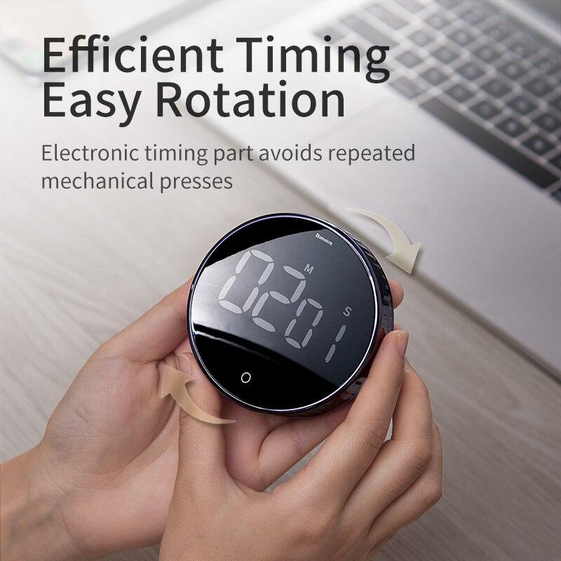 Image 2 - Baseus Cronômetro digital, cronômetro magnético eletrônico com relógio e alarme em LED digital para o escritório, banheiro, cozinhaSuporte universal p/ carro   -