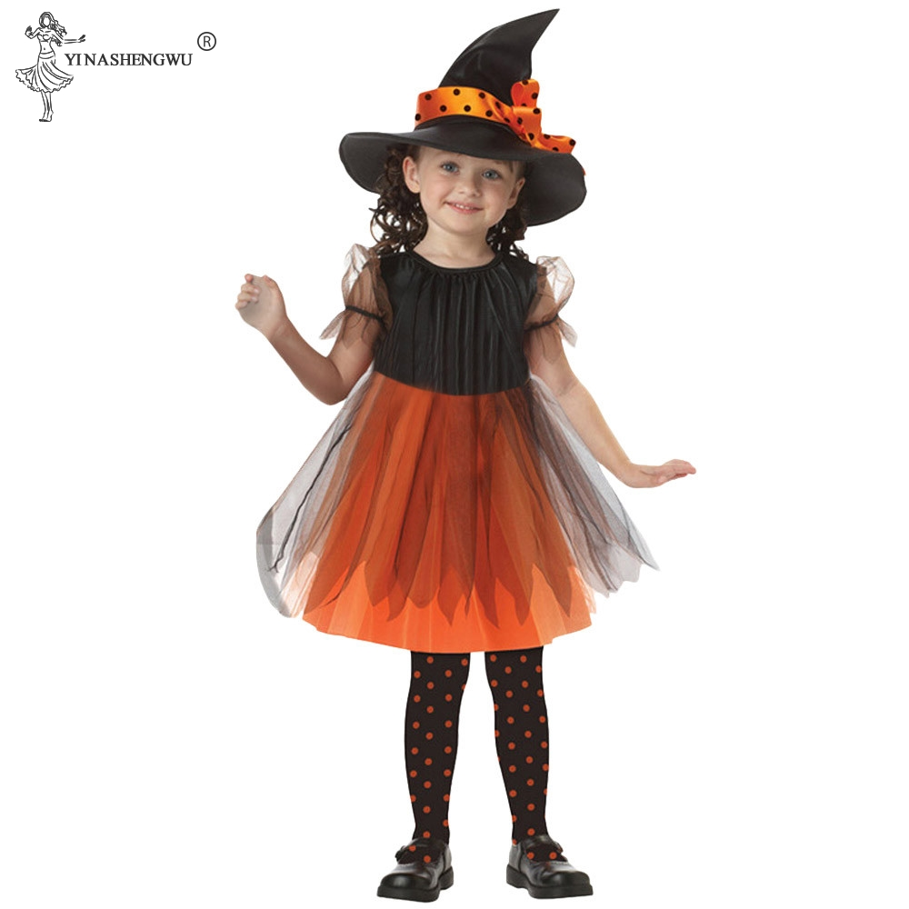 Cosplay Witch Clothing Party Children Kids Witch Halloween Costume For Girls Halloween Costume Party Witch Dress With Hat