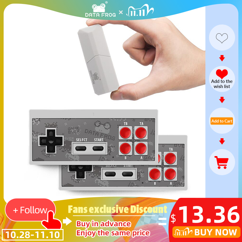 DATA FROG Retro Video Game Console 8 Bit Built in 1400 Classic Games Mini Wireless Console Support AV HDMI Output Dual Gamepads