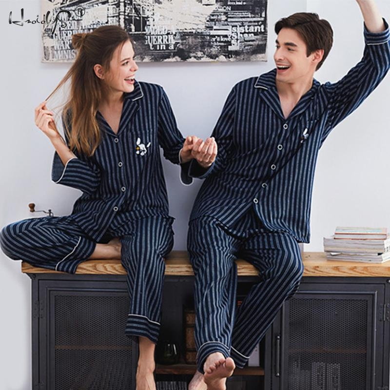 Couple Pajamas Sleepwear Home-Suit Long-Sleeved 100%Cotton for Men And Women High-Quality