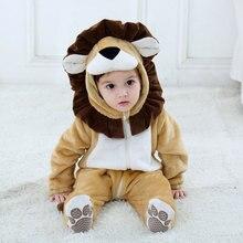 Aslan bebek kostüm hayvan Cosplay Kigurumis giyim karikatür Kawaii Onesie kıyafet pazen çocuk sıcak yumuşak pijama karnaval