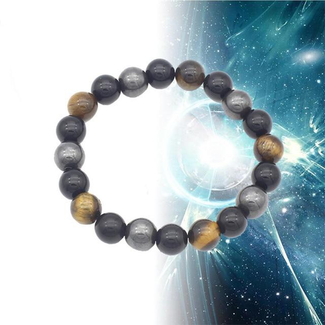 Magnetic Bracelets For Women Weight Loss Round Black Stone Therapy magnet Bracelet Men Health Bracelet Care Hematite Stretch 1