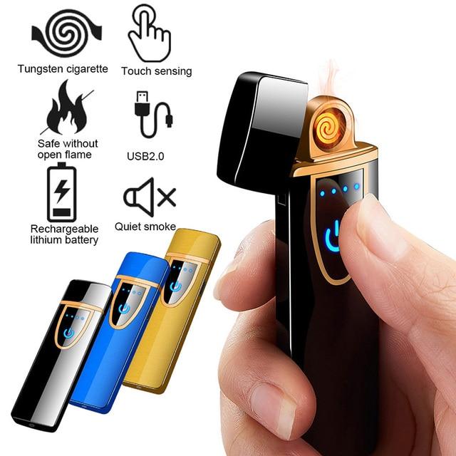 Encendedor de cigarrillos Sensor de pantalla táctil encendedor compacto inteligente Sensor USB encendedores de carga tungsteno sin llama