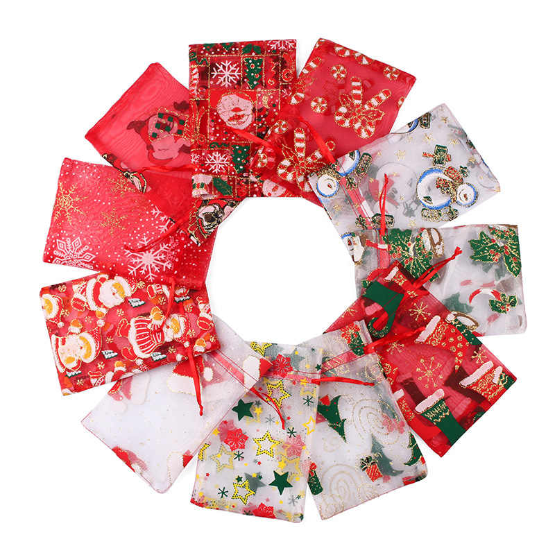 50pcs 10X15 13X18cm Colored Santa Claus Christmas Organza Bag Gauze Element Jewelry Bags Packing Drawable Organza Gift Bags 66