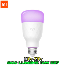 Versão inglês Xiao mi Yeelight 10 Inteligente Lâmpada LED Colorido 800 Lumens W E27 Limão Lâmpada Para mi Casa Inteligente aplicativo RGB Opção