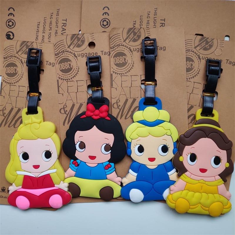 Women Travel Accessories Princess Luggage Tag Cartoon Girls Silica Gel Suitcase Address Holder Baggage Boarding Portable Label