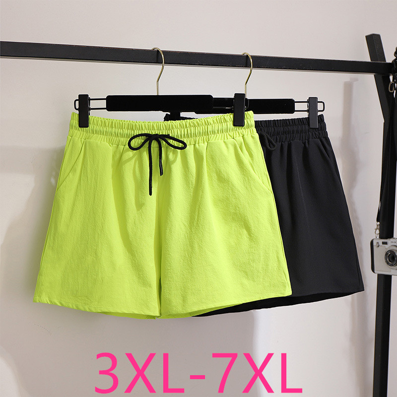 2020 Summer Plus Size Shorts For Women Large Loose Casual Elastic Waist Wide Leg Thin Shorts Belt Black Green 4XL 5XL 6XL 7XL