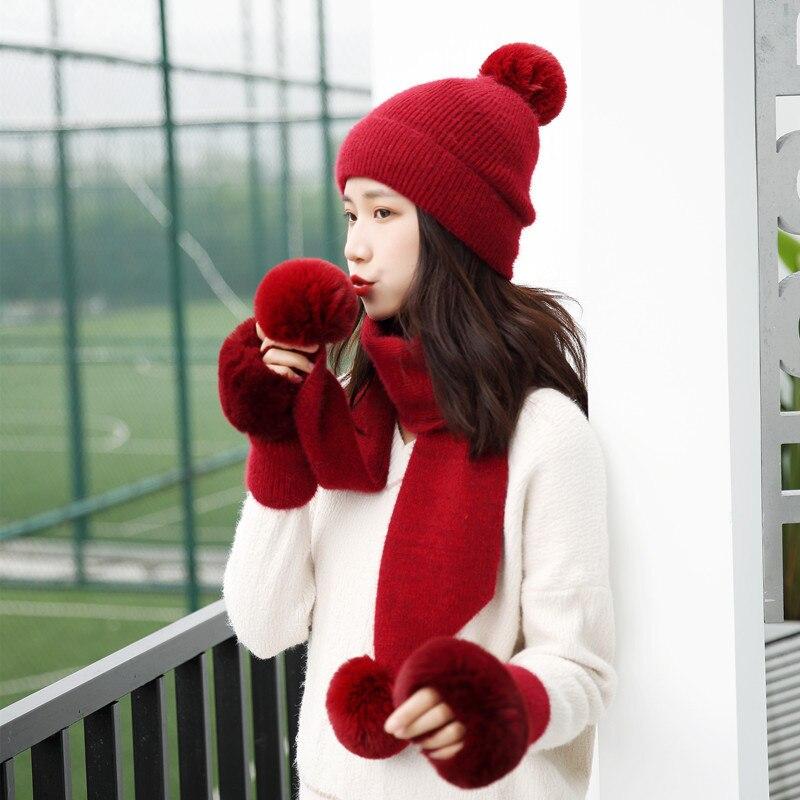 Winter Knitted Wool Hat Scarf Gloves Set Warm Three Sets Women Men Plus Velvet Thickening Women Ball Caps Scarf Girls