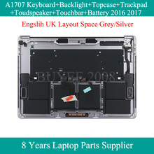Original New English UK Keyboard For Macbook Pro A1707 Keybaords Backlight Top Case Touchpad