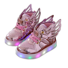 цена на Children shoes with light Fashion baby glowing sneakers boys little girls shoes wings canvas flats spring kids light up shoes