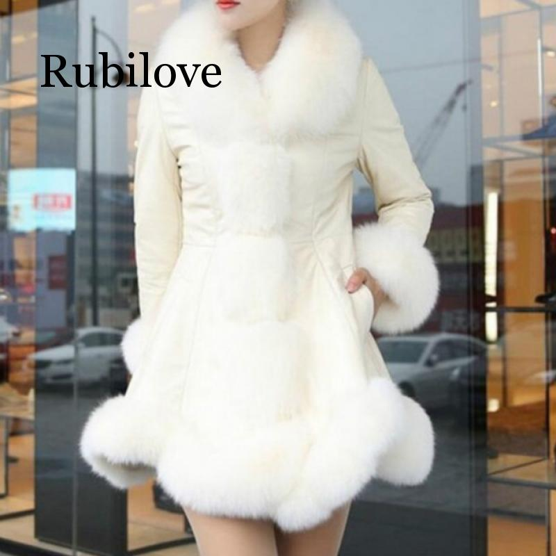 Rubilove Winter Coats Womens Faux Leather Jacket Female Fox Fur Collar PU Jackets Large Size 6XL