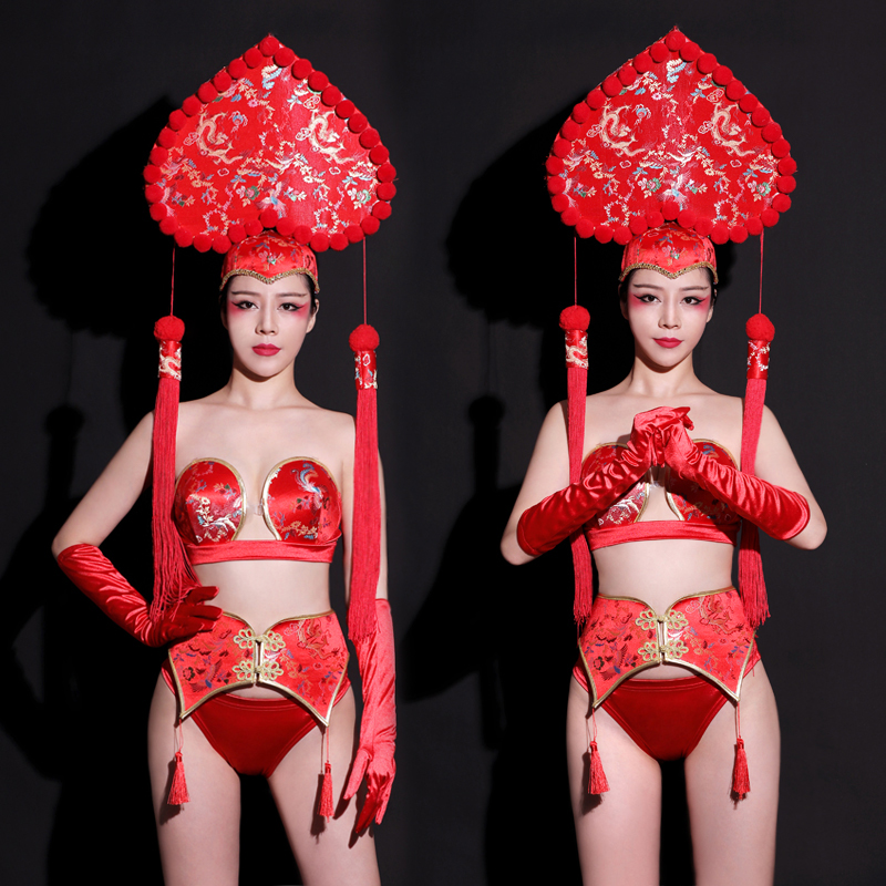 New Spring Festival Outfit Rave Headwear New Year'S NightClub Bikini GoGo Leading Dance Costume Retro Body Suit For Show Costume