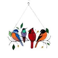 Multicolor Birds on a Wire High Stained Suncatcher Window Panel Bird Series Ornaments Pendant Colorful bird Home Decoration Gift