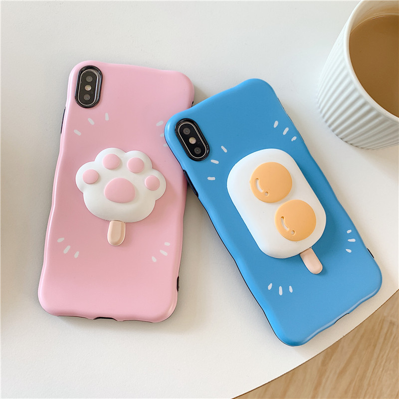 Blue Pink <font><b>Cat</b></font> Paw Icecream Paster Mobile Phone <font><b>Case</b></font> Cover for <font><b>iphone</b></font> 11 Pro Max 7 <font><b>8</b></font> Plus X XR XS Max image