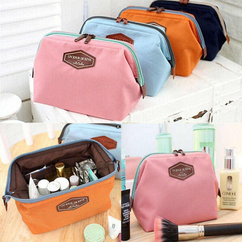 Women Portable Travel Makeup Polyester PU Leather Zipper Bag Organizer Case Cosmetic Pouch Clutch Handbag