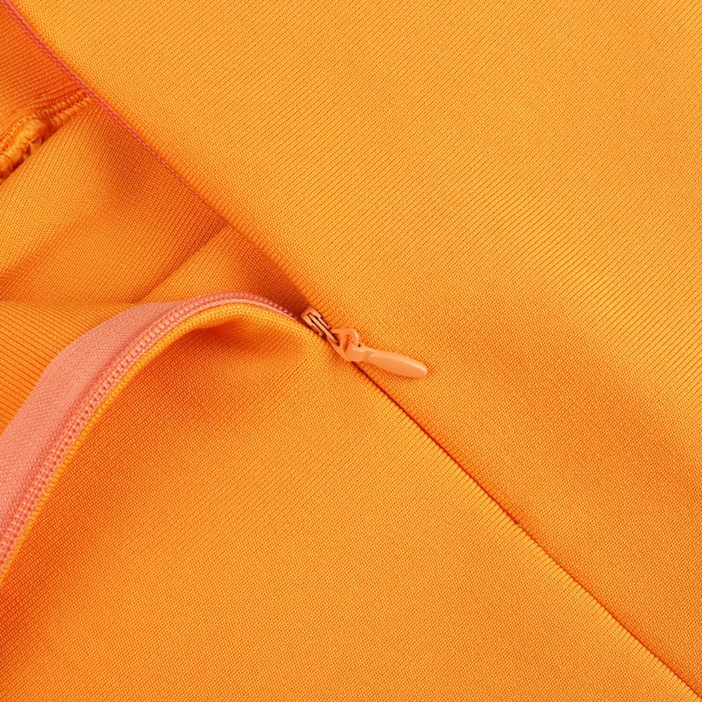 New Kendall Jenner Celebrity Bandage Dress Women Draped Orange Midi Bandage Dress Bodycon Sexy Evening Party Dress - kendall-jenner-outfits