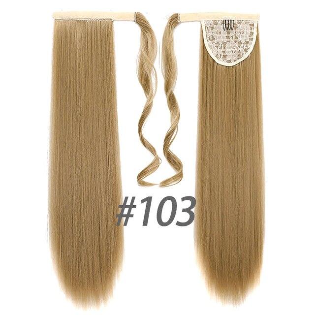 HOUYAN 24 дюймов длинные толстые прямые волосы кудрявые волосы синтетические волокна конский хвост обернутый парик длинный парик конский хвост парик - Цвет: 103