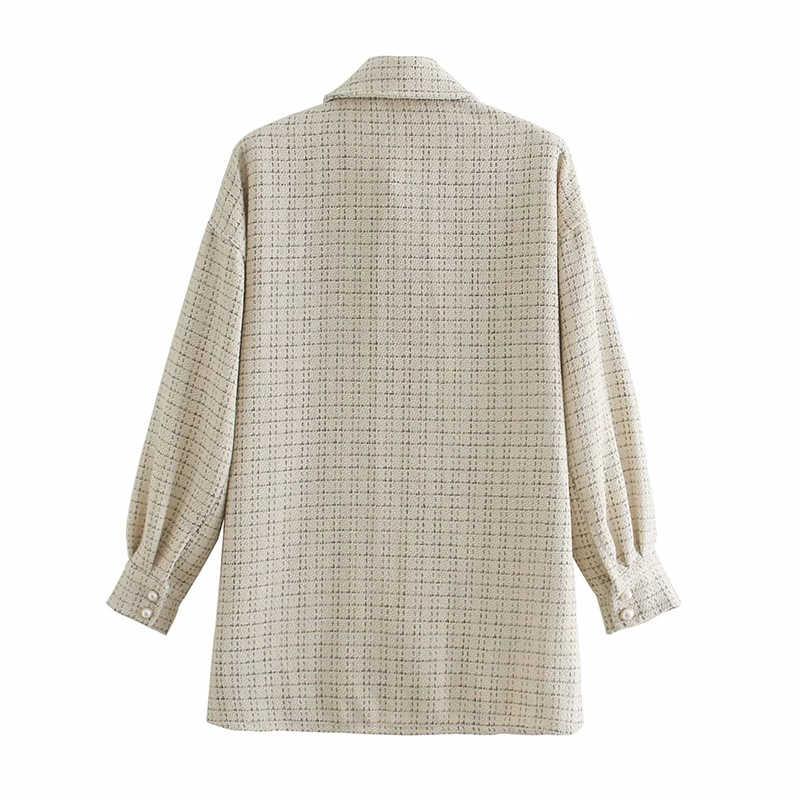 ZXQJ Tweed Nữ Vintage Oversize Kẻ Sọc Sơ Mi Dài Thu Đông 2020 Sang Trọng Nữ Dạo Phố Áo Rời Nữ Trang Phục Bé Gái
