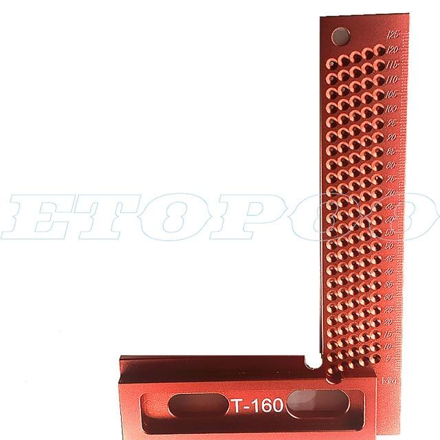 1 шт. алюминиевый сплав 90 градусов квадраты L форма прямой угол линейка Scriber калибр плотник деревообрабатывающие инструменты - Цвет: 160mm