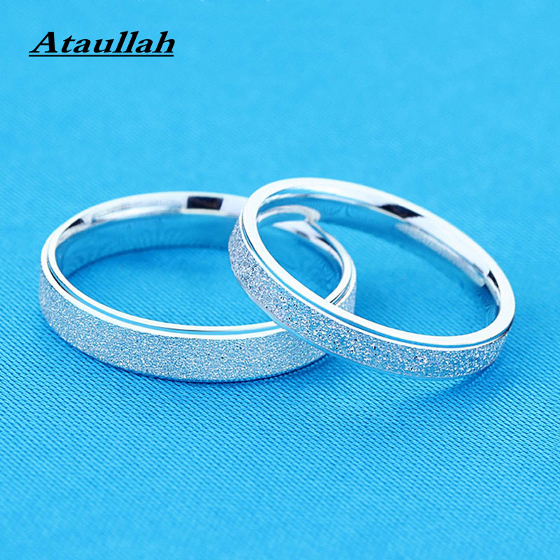 Ataullah Lovers'  925 Sterling Silver Scrub Rings For Women And Men New Fashion Trendy Couple Jewelry Accessories Ring RWD704