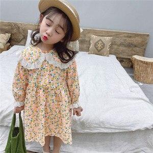 Image 5 - Vestido de princesa con cuello de encaje grande para niña, vestido de princesa con estampado de flores de manga larga de algodón de estilo coreano, novedad de primavera