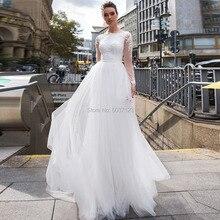 レースマーメイドウェディングドレス取り外し可能な列車長袖スクープレースアップリケ花嫁衣装 Vestidos デ noivas プラスサイズ