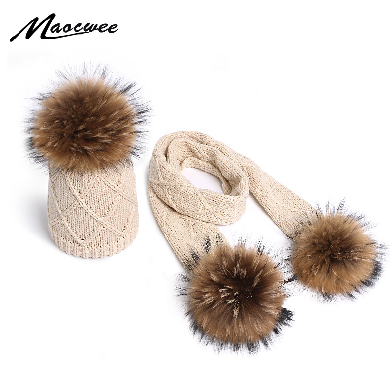 Baby Children Hat Scarf Set Winter Thicken Braided Knitted Cute Fluffy Pompom Ball Cuffed Beanie Cap Windproof  Ring Neck Warmer