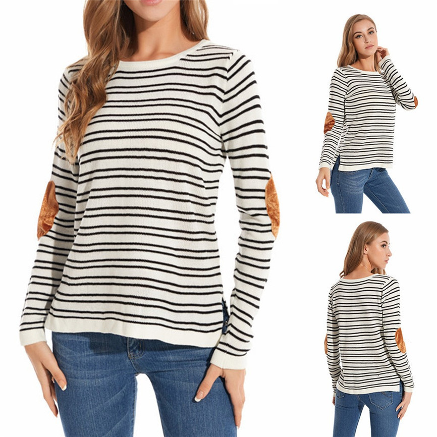 Women's Autumn And Winter Casual Striped Pullover Sweater Stitching Bottoming Sweater Ladies Knit Bottoming Shirt