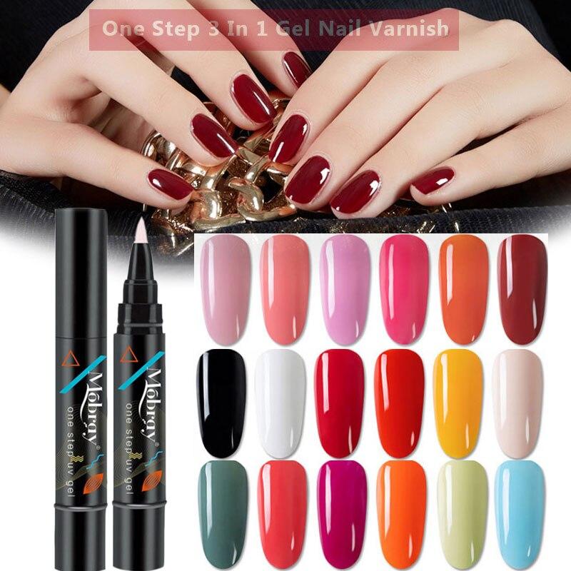 Mobray 5ML 3 In 1 UV Gel Nail Polish UV Gel Varnish One Step Nail Varnish Not Need Base Top Coat Nail Art Design Manicure Pen 1