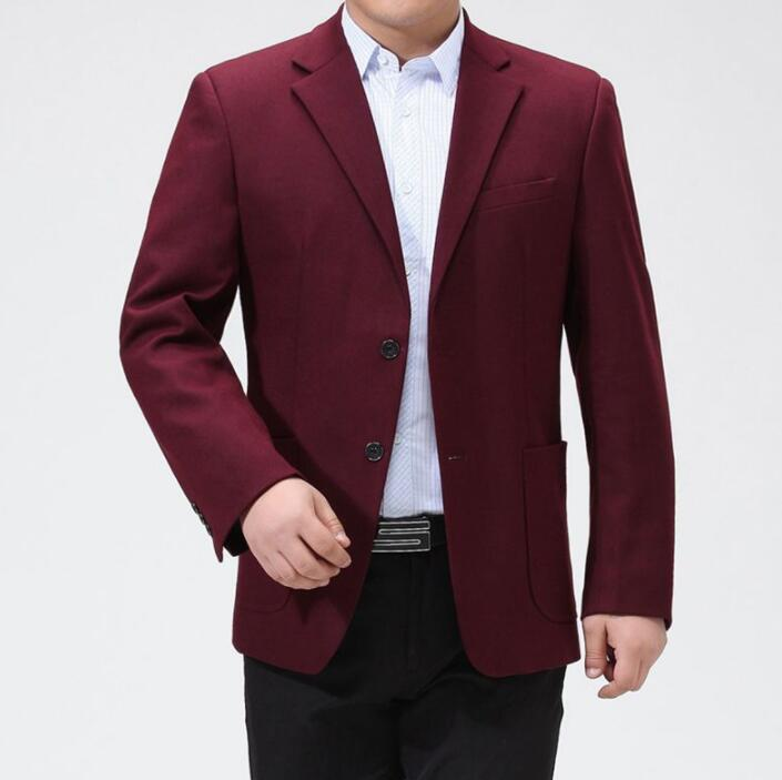 Wine Middle-aged Wool Suits Men Blazer Spring Autumn Masculino Slim Fit Casaco Jaqueta Masculina Coats Mens Jacket B298