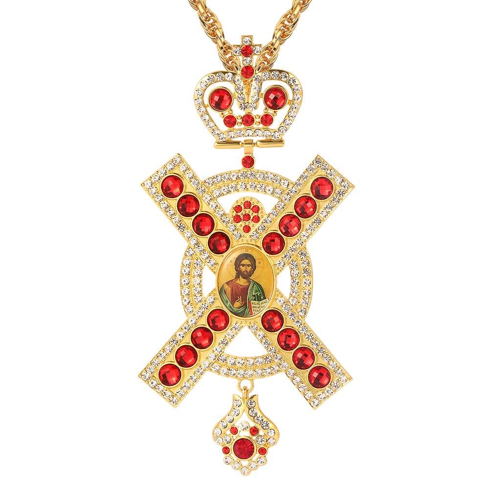 Ожерелье с подвеской в виде креста, христианская церковь, золотой жрец, распятие, длинное ожерелье, ортодоксальное крещение, ювелирные изделия, религиозные иконы