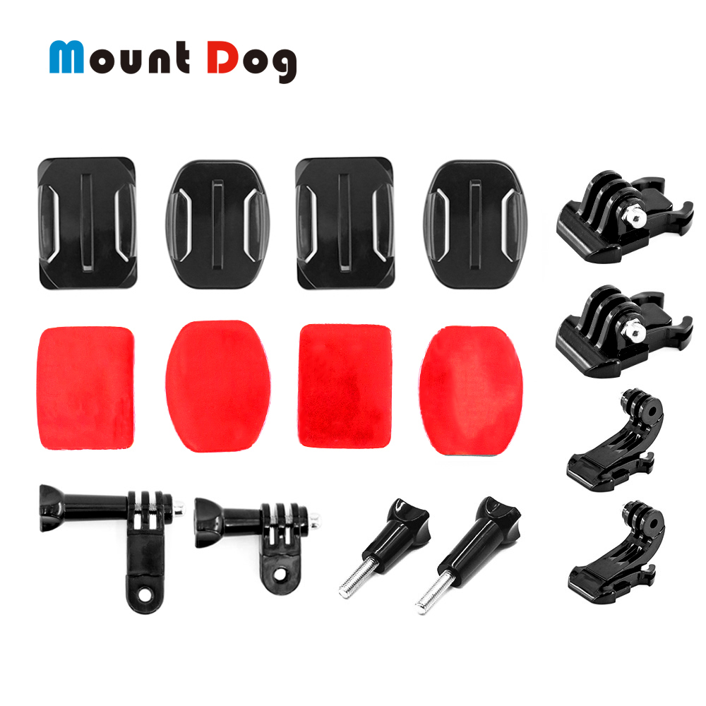 For Gopro Hero 7/6/5/4/3+ Action Sport Camera Go Pro Accessories Kit Curved Screw Helmet Flat Mount For Xiaomi Yi 4K Pro Camera