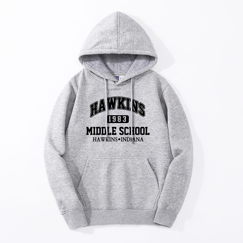 TV Show Stranger Things HAWKINS Hoodie 2019 Spring Winter Warm Fleece High Quality Sweatshirt Fashion Fitness Hip Hop Streetwear