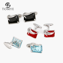 TOMYE Mens Cufflinks Luxury Black Red Blue Crystal Angel Wings High Quality French Shirt Wedding Cuff Links XK18S365