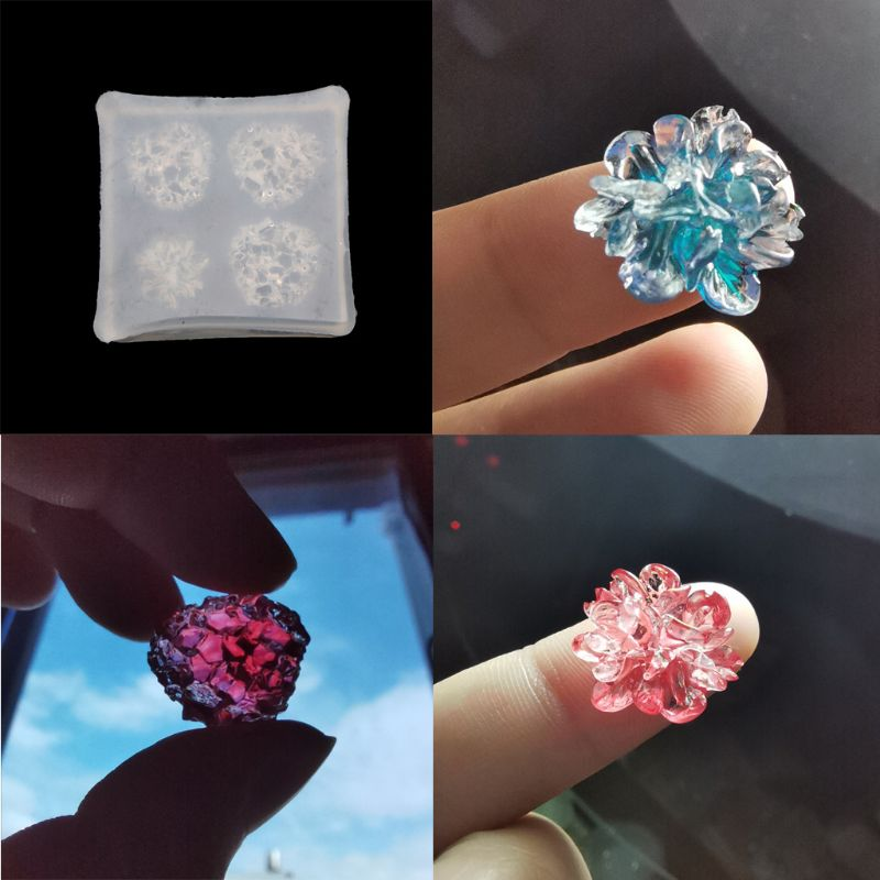 Irregular Crystal Cluster Flower Resin Mold Crystal Quartz Rock Earring Mold Druzy Gem Pendant Mold Resin Jewelry Making