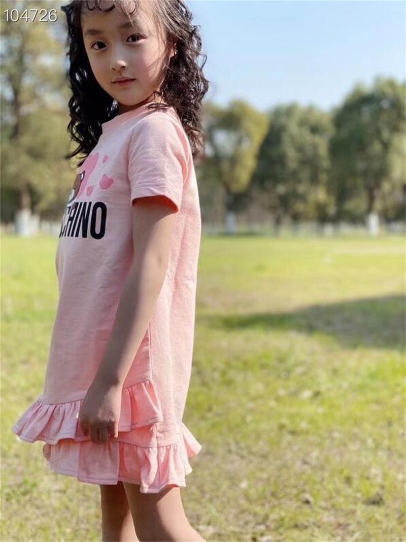 Y574 2020 summer girls' cotton bear cartoon short sleeved dress A line loose stitching net dress pink Brand girl dress|Dresses| - AliExpress