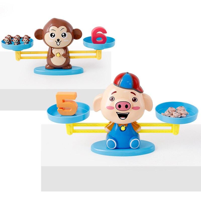 Balance numérique Auncel aides pédagogiques mathématiques jouets jeux mathématiques petit singe chiot plastique ABS enfants cadeau 2