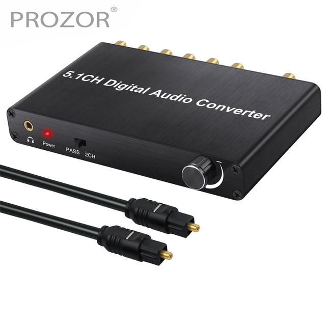 Prozor 192 khz 5.1ch dac 컨버터 볼륨 조절 디지털 아날로그 및 3.5mm 잭 오디오 컨버터 어댑터 (AC 3 용)